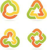 Set of 4 variable multi colored infinity signs, with shadows on individual layer. Large JPEG, (2800x2800), layered AI EPS 8. Archive: large 300 dpi layered PSD, screensize JPEG, 2 large PNG (icons and shadows), AI 7. Only linear gradients.