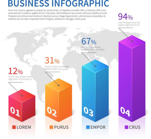soyut infographic 3d dünya haritası vektör grafik ile finans bar - bar stock illustrations