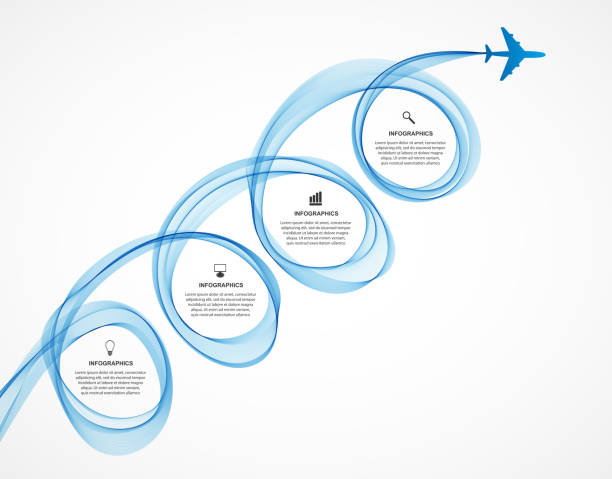 Abstract infographic airplane and wave a blue smoke. vector art illustration