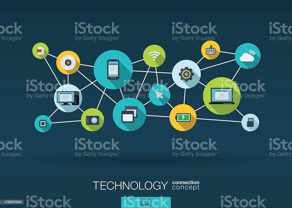 Abstract infographic technology network vector background: lines, circles, flat icons. vector art illustration