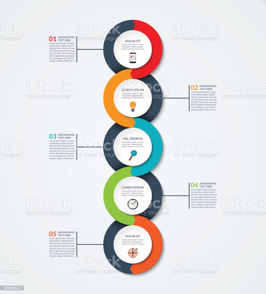 Abstract infographic template. Business concept with 5 options, steps, parts, circles. Vector banner for timeline infographics, workflow layout, diagram chart, annual report, presentation, web design vector art illustration