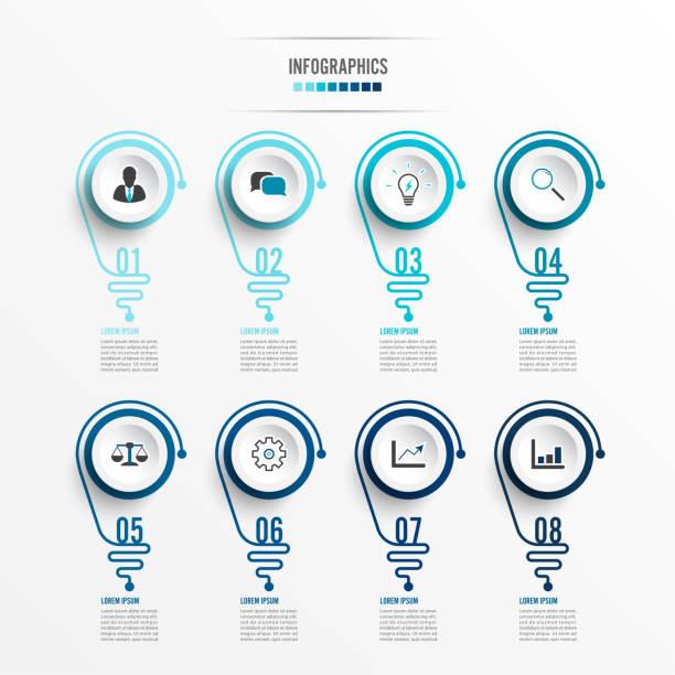 Infografía abstracta con bombilla. Infografías para presentaciones de negocios o banner de información 8 opciones. - ilustración de arte vectorial