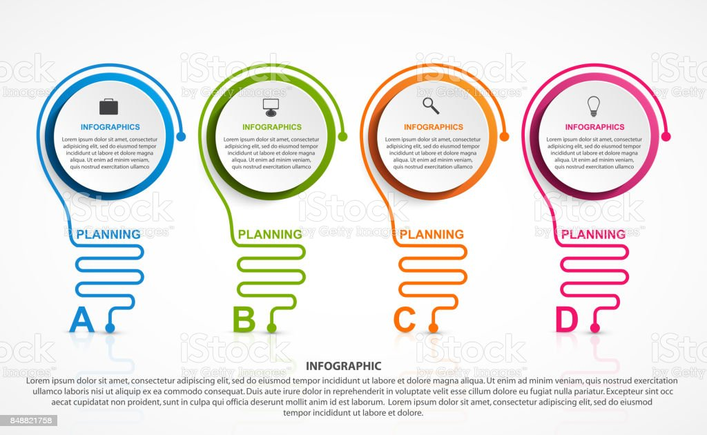 Abstract infographic with light bulb. Infographics for business presentations or information banner. vector art illustration