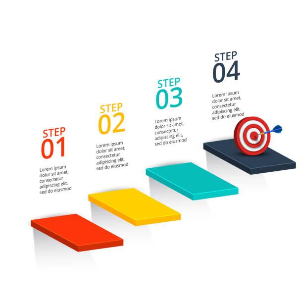 abstrakte infografiken template anzahl optionen. - treppe stock-grafiken, -clipart, -cartoons und -symbole