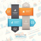 Abstract infographics template design with paper elements on infographic background.