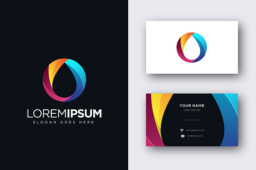 Abstract ink vector icon and business card template