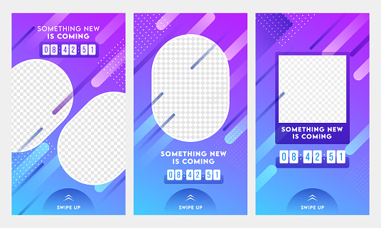 Abstract Instagram Stories Template Design Set with Something New Is Coming Text and Space For Image.