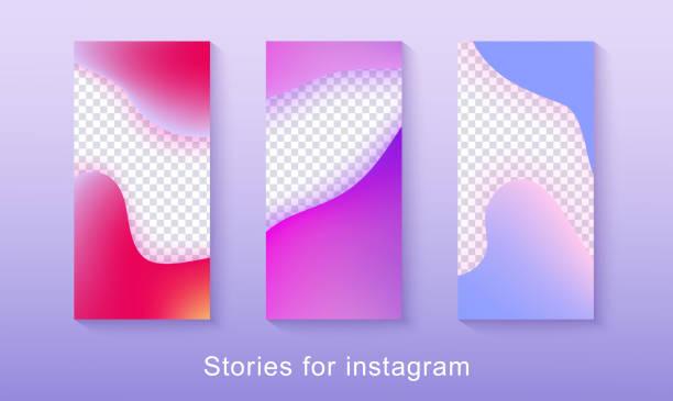 abstract instagram-story-bilderrahmen, fließende asymmetrische gradientenwellen - storytelling grafiken stock-grafiken, -clipart, -cartoons und -symbole