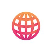 Abstract internet icon network sign globe linear symbol. Flat planet earth emblem.