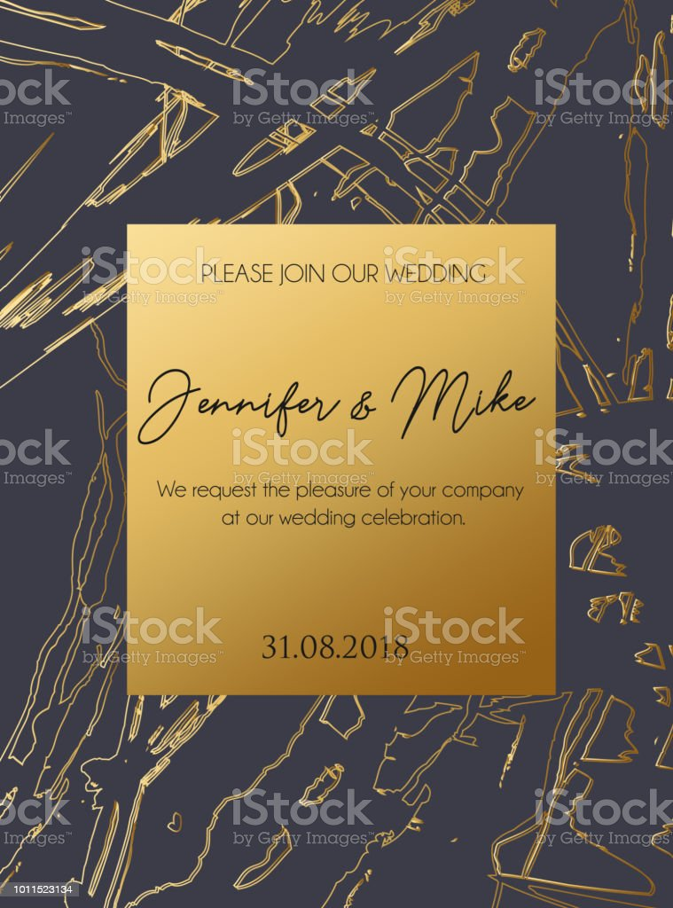 Abstract Invitation Or Greeting Card Template For Wedding