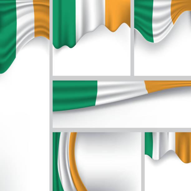 ilustraciones, imágenes clip art, dibujos animados e iconos de stock de resumen bandera de irlanda, irlanda vector de bandera (arte vectorial) - bandera irlandesa