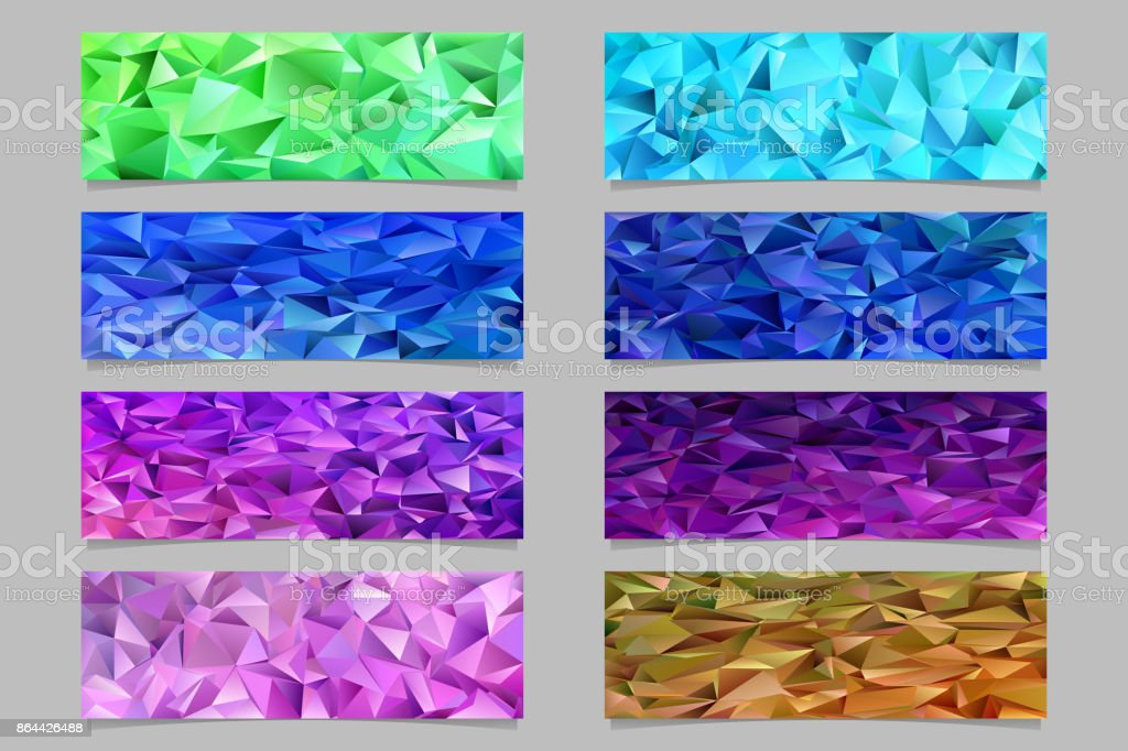 abstract irregular triangle mosaic banner template background set