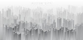 Abstract isometric 3D crowded city background of building in misty fog. Panoramic real estate background with skyscrapers. black and white metropolis city concept background.