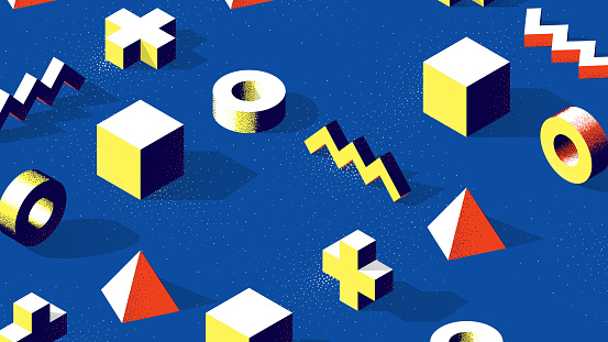 Abstract isometric 3D shapes with contrast shadows and dotwork texture on blue background