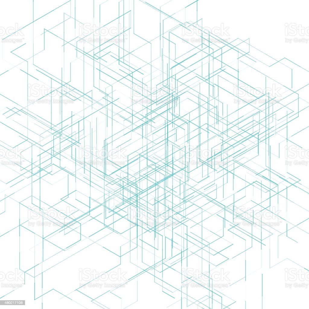 Abstract isometric computer generated 3d blueprint visualization abstract isometric computer generated 3d blueprint visualization lines background vector royalty free abstract isometric malvernweather Images