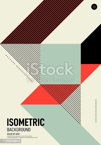Abstract isometric geometric shape layout poster design template background modern art style. Graphic element can be used for backdrop, publication, brochure, flyer, leaflet, vector illustration
