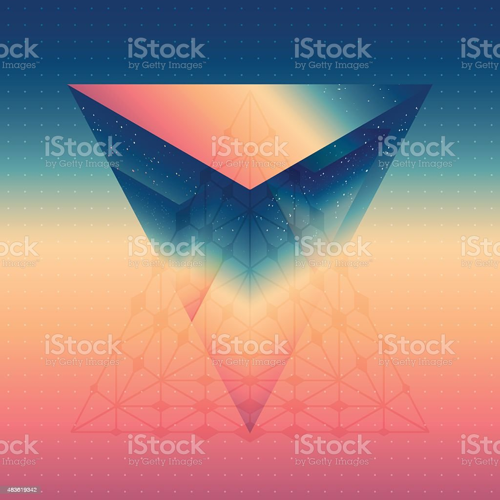 Abstract isometric prism with the reflection of the space vector art illustration