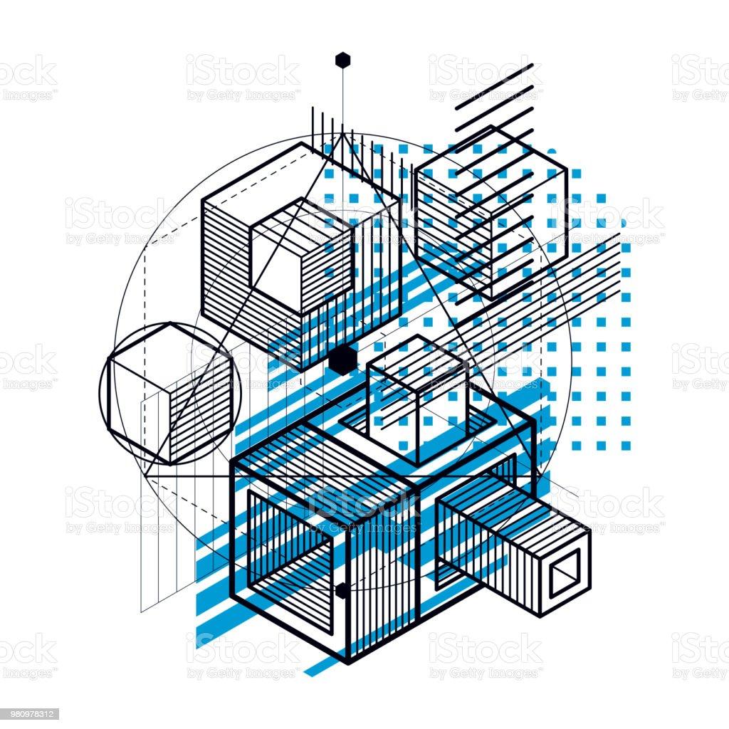 Abstracta fondo de isométricos, layout 3d de vector. Composición de cubos, hexágonos, cuadrados, rectángulos y diferentes elementos abstractos. - ilustración de arte vectorial