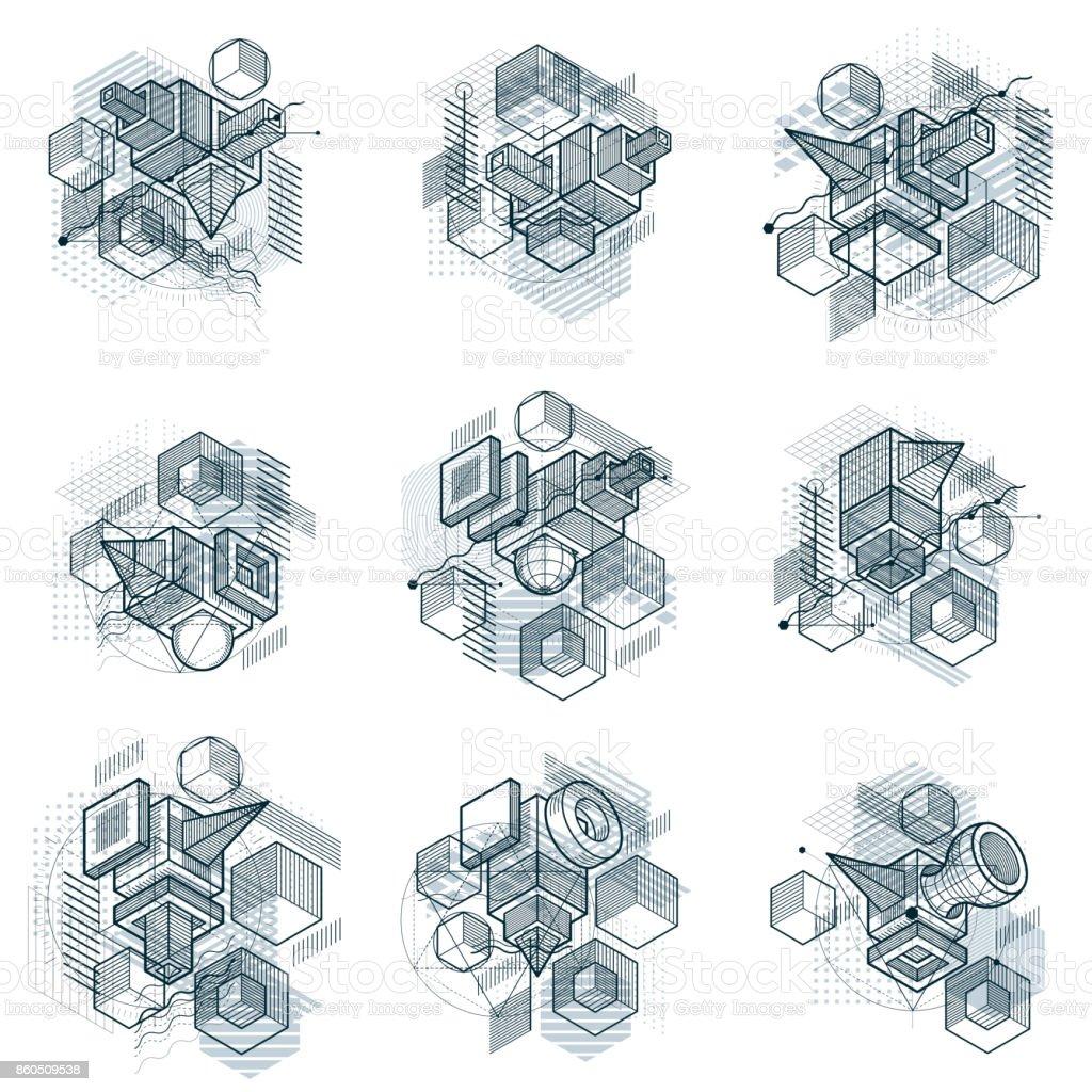 Resumen antecedentes de isométricos, 3d diseño de vector. Composiciones de cubos, hexágonos, cuadrados, rectángulos y diferentes elementos abstractos. Colección de vector. - ilustración de arte vectorial