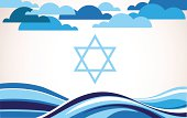 abstract israel flag as sea and blue sky