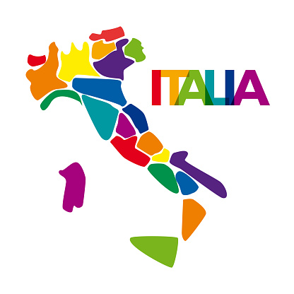 Abstract italy map, simplified with colored regions in geometric shapes. Vector drawing logo