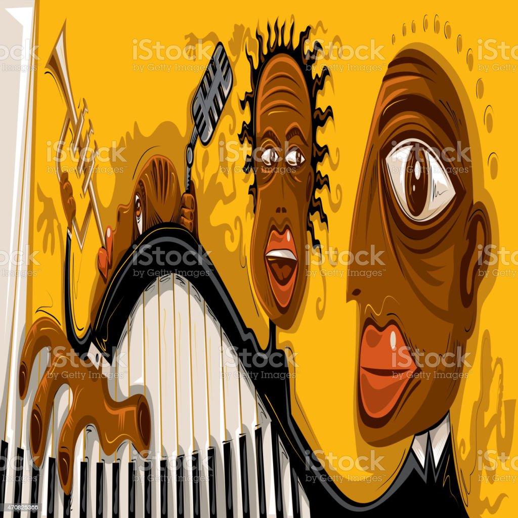 Abstract Jazz Art, Cool Music Band (Vector Art) vector art illustration