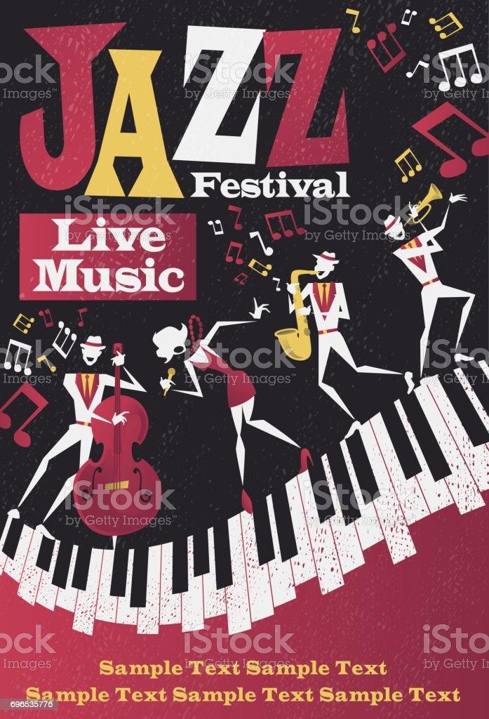 Affiche abstrait Portrait Festival Jazz - Illustration vectorielle