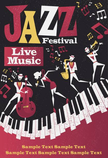 Abstract Jazz Festival Portrait Poster vector art illustration