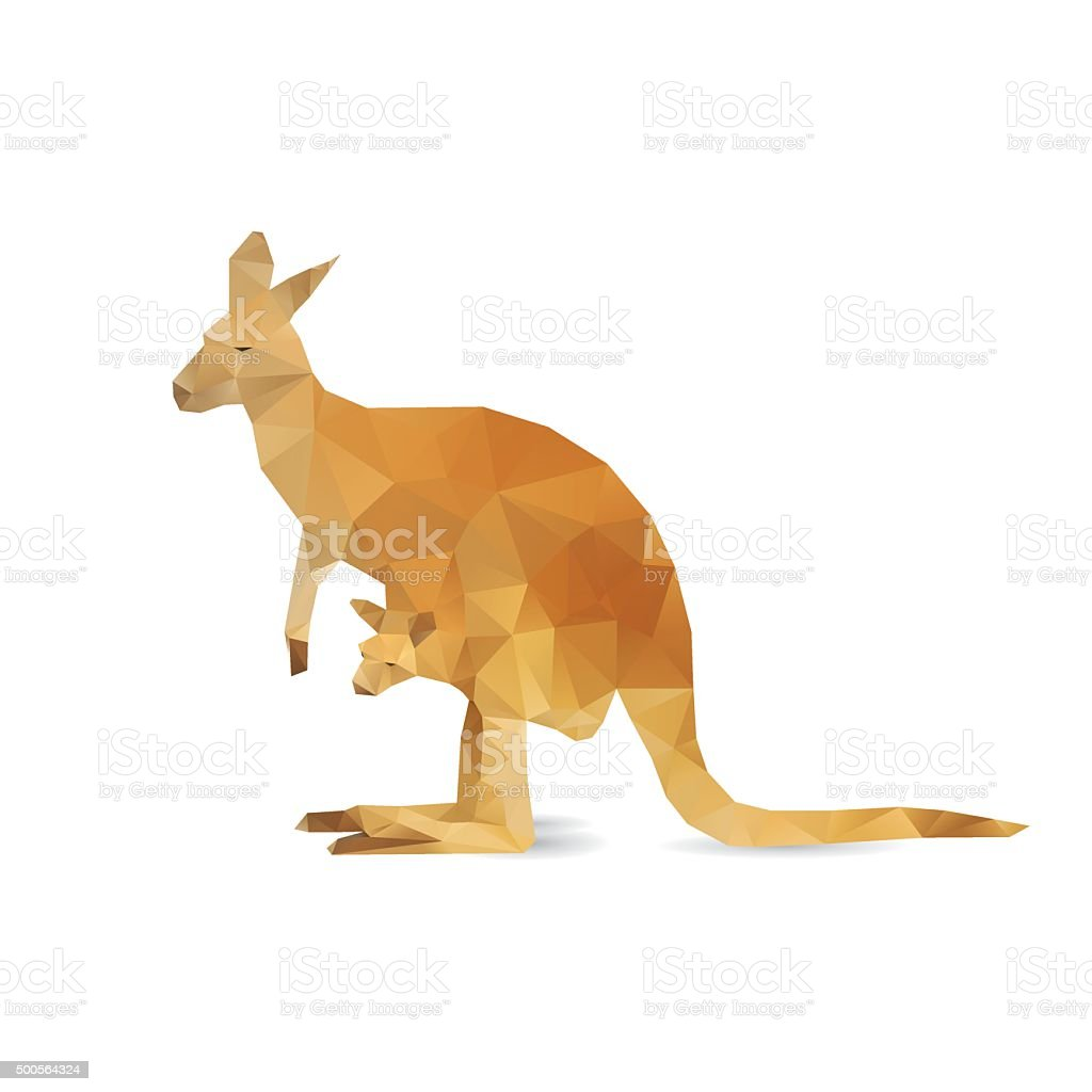 Abstract kangaroo isolated vector art illustration
