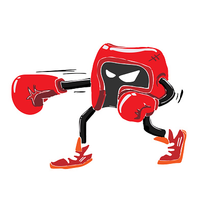 Abstract kawaii sporty character, Vector drawing red head guard boxing, creative illustration cute cartoon object on white background for decoration graphic design and artwork, fighting conceptual.