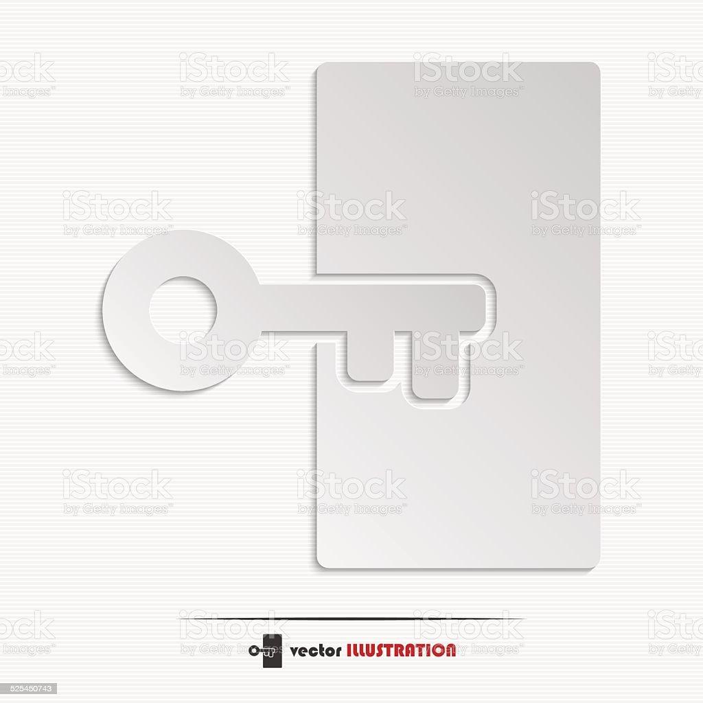 Abstract key web icon vector art illustration