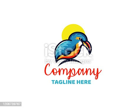Abstract kingfisher vector design template.