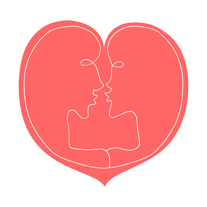 Abstract kiss, a couple of lovers, inscribed in a big heart. We're connected. Line art, doodle, vector. For ad poster or card print, t-shirt, wedding, Valentines Day, february 14