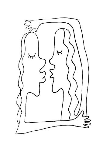 Abstract kiss and hug. We are connected. Simple funny illustration. Line art, doodle, vector. For ad poster or card print, t-shirt, wedding, Valentines Day, february 14