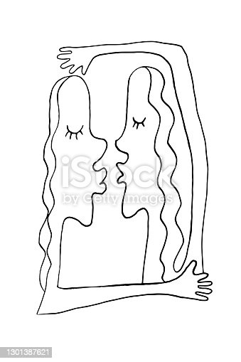 istock Abstract kiss and hug. We are connected. Simple funny illustration. Line art, doodle, vector. For ad poster or card print, t-shirt, wedding, Valentines Day, february 14 1301387621