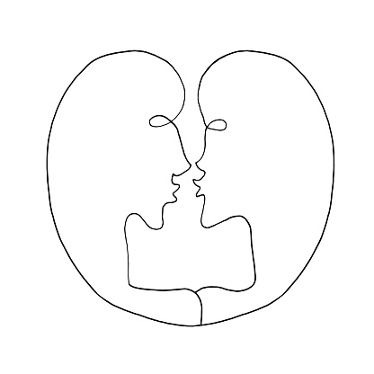 Abstract kiss. We are connected. Line art, doodle, vector. For ad poster or card print, t-shirt, wedding, Valentines Day, february 14