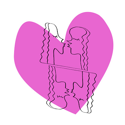 Abstract kiss. We are connected. Simple funny color illustration. Line art, doodle, vector
