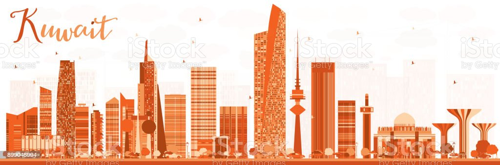 Abstract Kuwait City Skyline with Color Buildings. vector art illustration