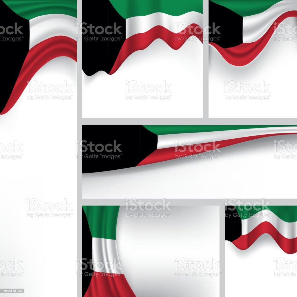 Abstract Kuwait Flag, Kuwaiti Colors (Vector Art) vector art illustration