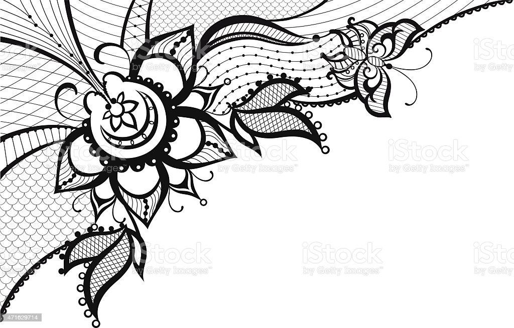 Fondo De Encaje Con Elementos De Mariposa Y Flores Illustracion ...