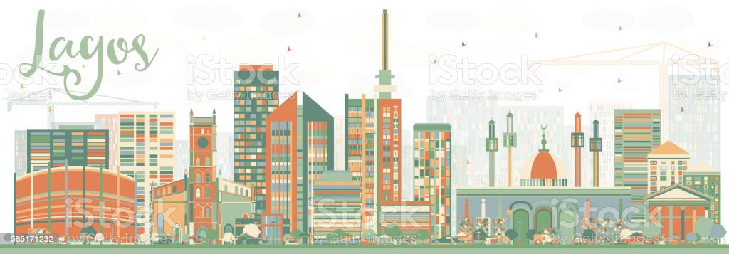 Abstract Lagos Skyline with Color Buildings. vector art illustration