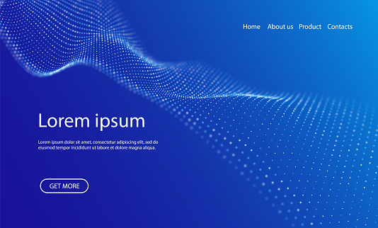 Abstract landing page background with blue particles. Flow wave with dot landscape. Digital data structure. Future mesh or sound grid. Pattern point visualization. Technology vector illustration.