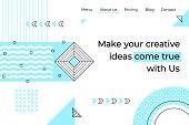 Abstract landing page. Minimal geometry memphis background, trendy business website app. Vector development programming landing page