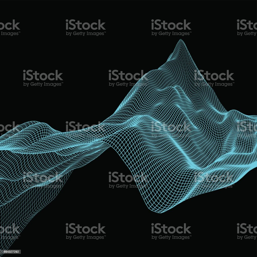 Abstract landscape background. Cyberspace grid. Vector illustration. vector art illustration