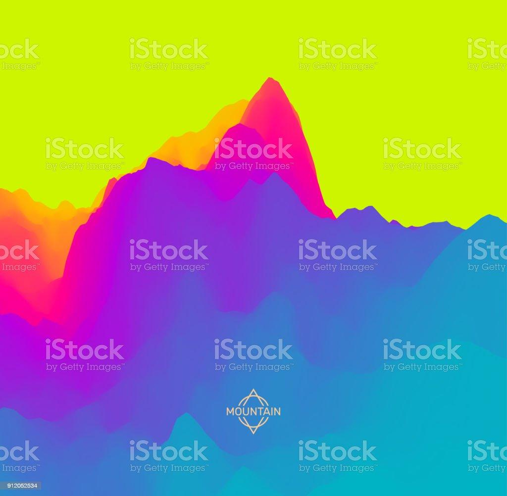 Abstract landscape background. Mountainous terrain. 3d vector illustration. vector art illustration
