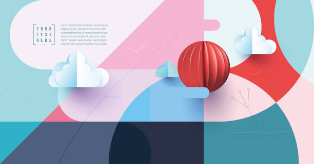 abstract landscape background Trendy covers layout, web template. Minimal geometric shapes compositions. Applicable for websites, brochures, posters, covers and banners book patterns stock illustrations