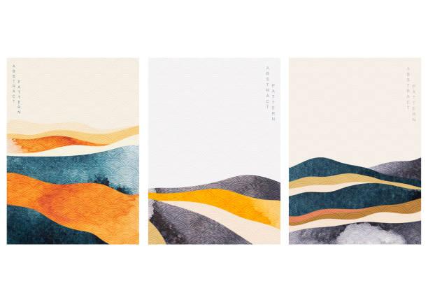 ilustrações, clipart, desenhos animados e ícones de fundo paisagístico abstrato com vetor de padrão de onda japonês. textura de aquarela em estilo chinês. ilustração de modelo de floresta de montanha. - abstract