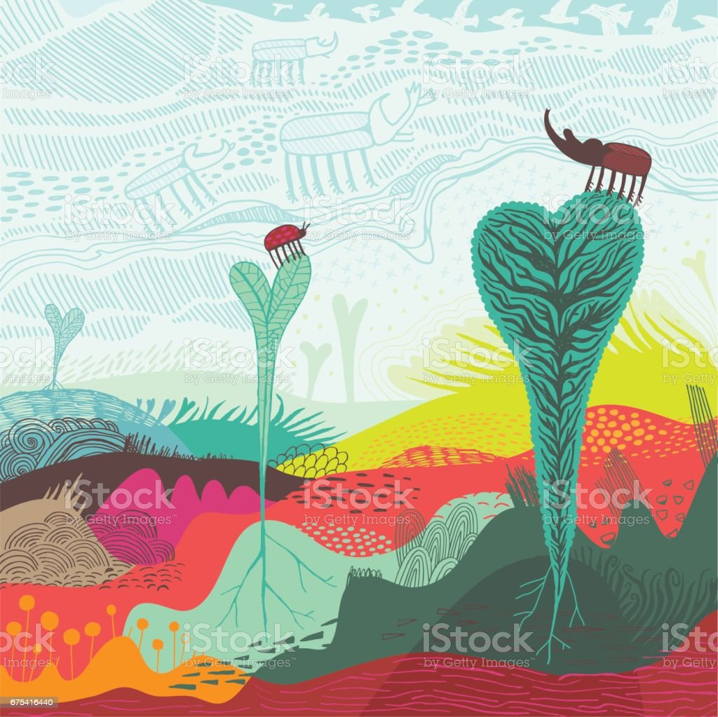 Abstract landscape of heart shaped plants and insects vector art illustration