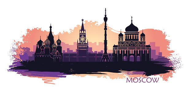 Abstract landscape of Moscow with sights at sunset. with spots and splashes of paint Vector illustration