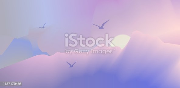 Abstract landscape, mountain, background, screen, birds